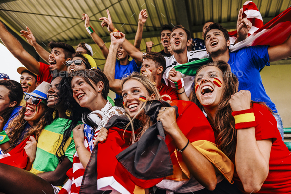 Supporters from Multiple Countries at Stadium All Together - Stock Photo - Images