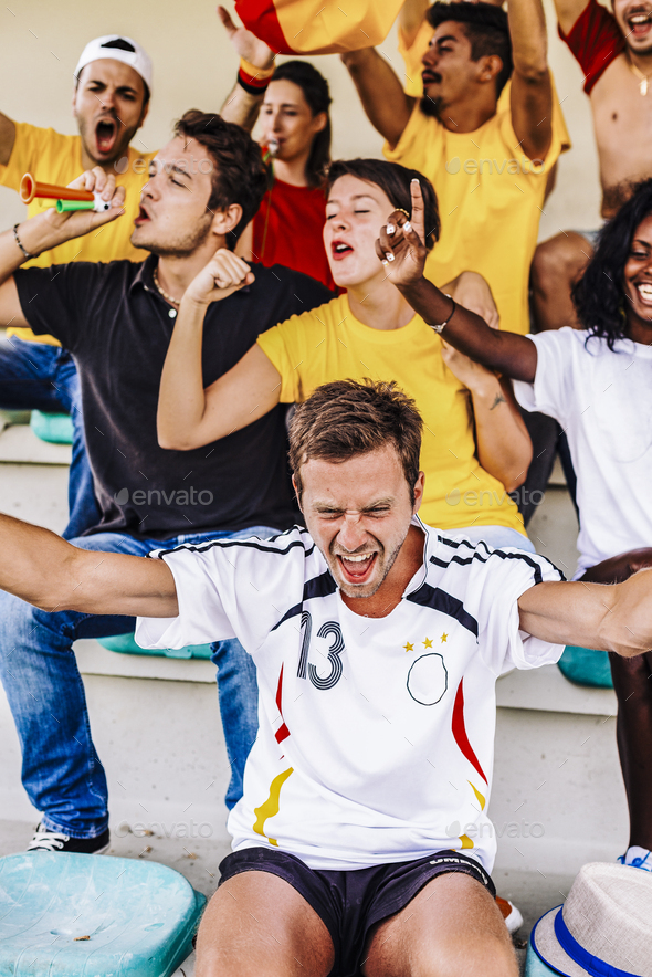 Supporters from Germany at Stadium - Stock Photo - Images