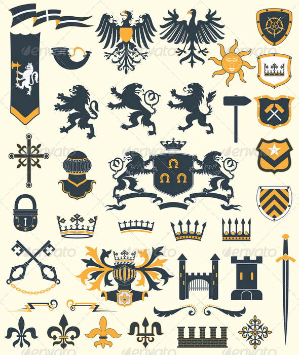 Heraldic Design Elements set#2 - Decorative Symbols Decorative