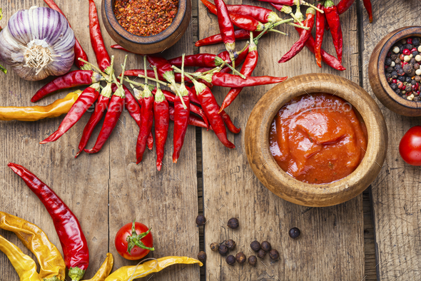 Spicy chili sauce or ketchup - Stock Photo - Images