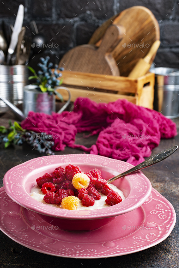 oat flakes with berries - Stock Photo - Images