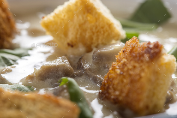Close up of mushroom cream soup - Stock Photo - Images