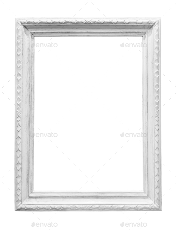 White wooden picture frame isolated - Stock Photo - Images