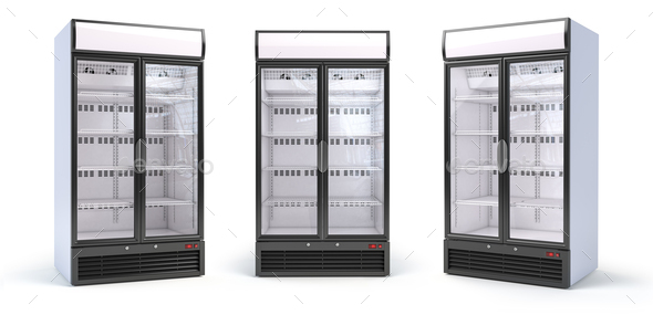 Set of empty showcase refrigerators in the grocery shop. Fridge - Stock Photo - Images