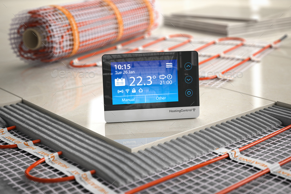 Underfloor heating. Heating climat control thermostat  with mat - Stock Photo - Images