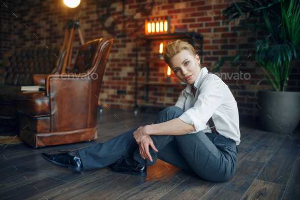 Sexy woman relax with whiskey and cigar, vintage - Stock Photo - Images
