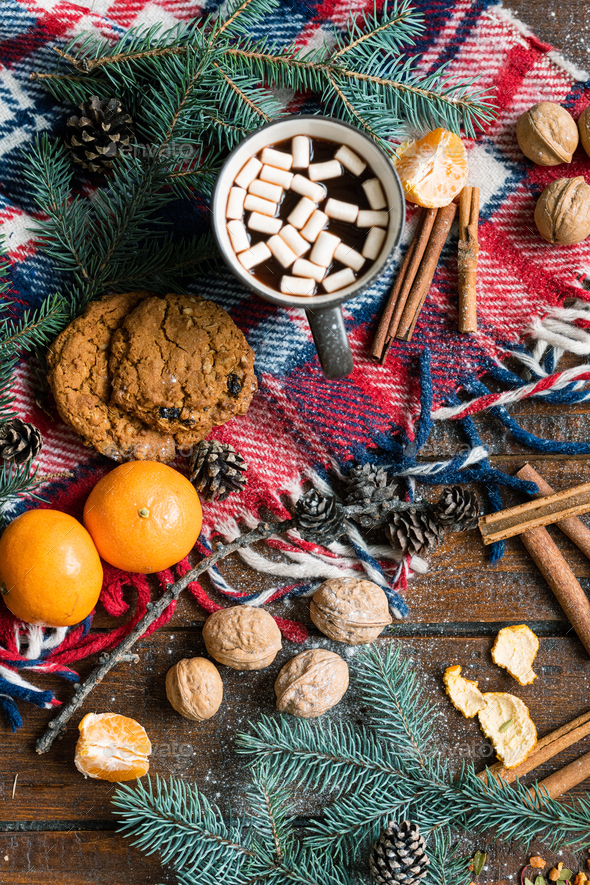 Christmas symbols, traditional food and spices other objects on wooden table - Stock Photo - Images