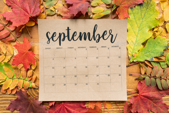 September calendar sheet with autumn leaves of red, yellow and green color - Stock Photo - Images