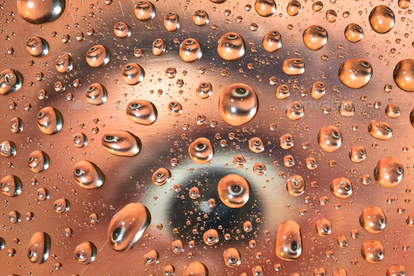 Person's Eye Reflected in Water Droplets - Stock Photo - Images