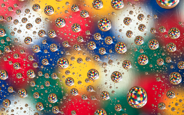Colorful Pattern in Water Droplets - Stock Photo - Images