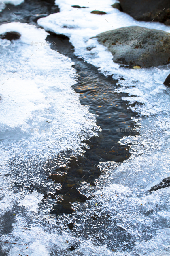 Patches of Ice on a Stream in New Zealand - Stock Photo - Images