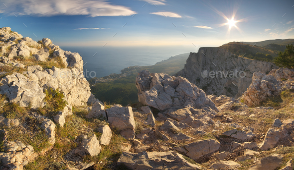 Sunset in mountain. - Stock Photo - Images