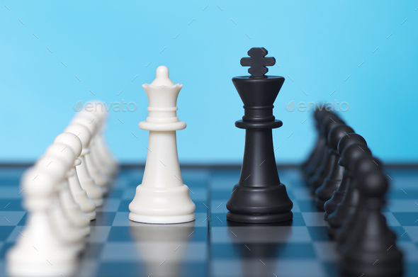 Chess game and blue background - Stock Photo - Images