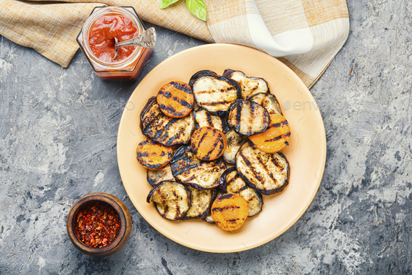Grilled vegetables on a plate - Stock Photo - Images