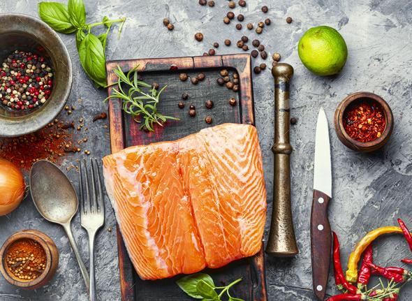 Fresh salt salmon fish - Stock Photo - Images