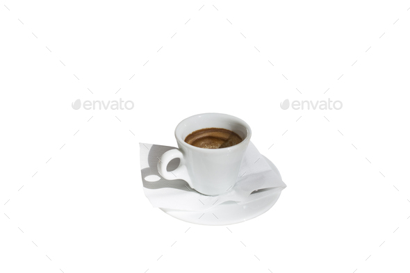 Cup of coffee can be used for fortune telling. Isolated in a white background. Close-up. - Stock Photo - Images