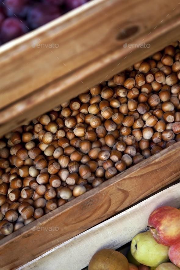 Hazelnut on a market stall - Stock Photo - Images