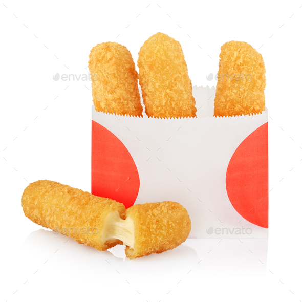 Deep fried cheese sticks in paper bag isolated - Stock Photo - Images