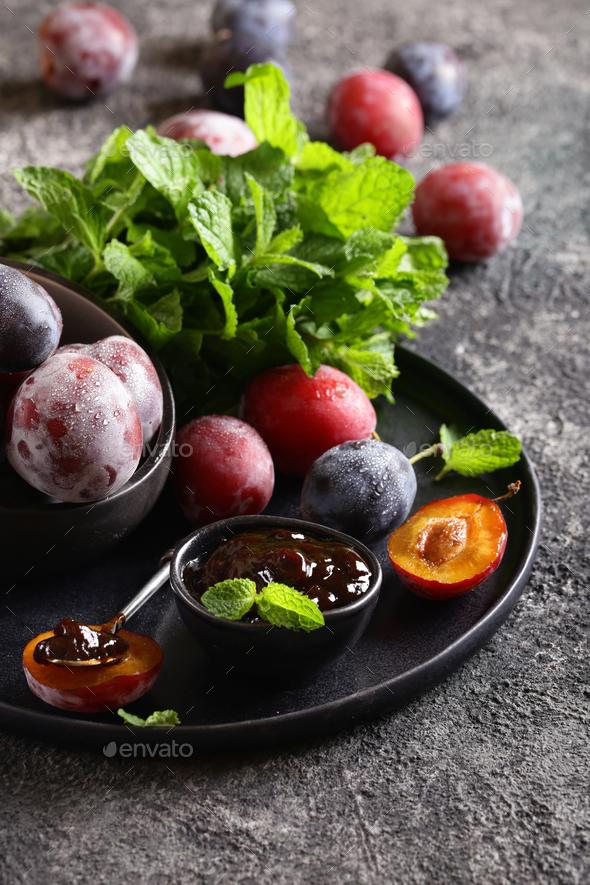 Fresh Organic Plum Jam - Stock Photo - Images