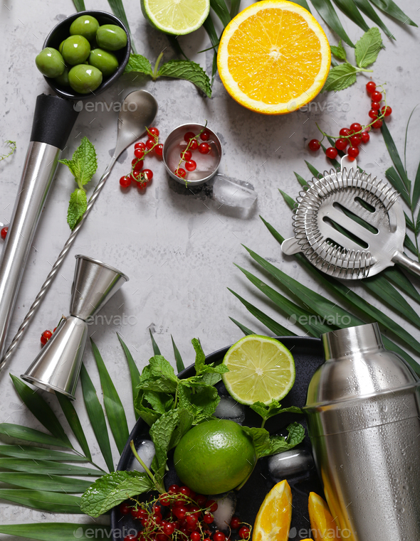 Cocktail Shaker on the Background of Fruits - Stock Photo - Images