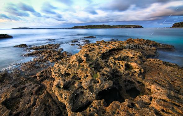 Long Exposure of Ocean Waves in Australia - Stock Photo - Images