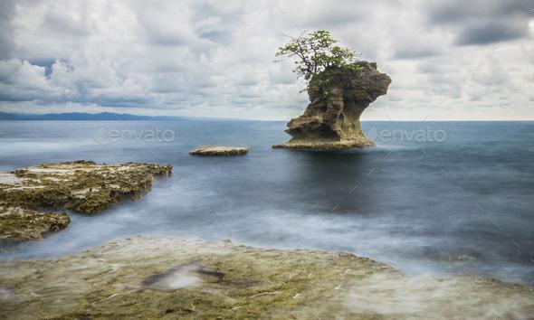 Long Exposure of Ocean Waves in Costa Rica - Stock Photo - Images