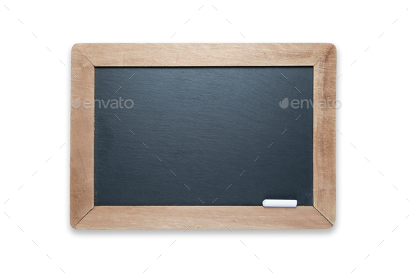 Blank Slate Black Chalk Board with Chalk Isolated on A White Background - Contains Clipping Path. - Stock Photo - Images