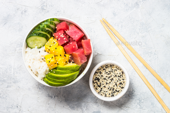 Tuna poke bowl with rice and vegetables - Stock Photo - Images