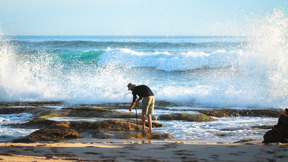 Photographer at the Ocean in Victoria, Australia - Stock Photo - Images