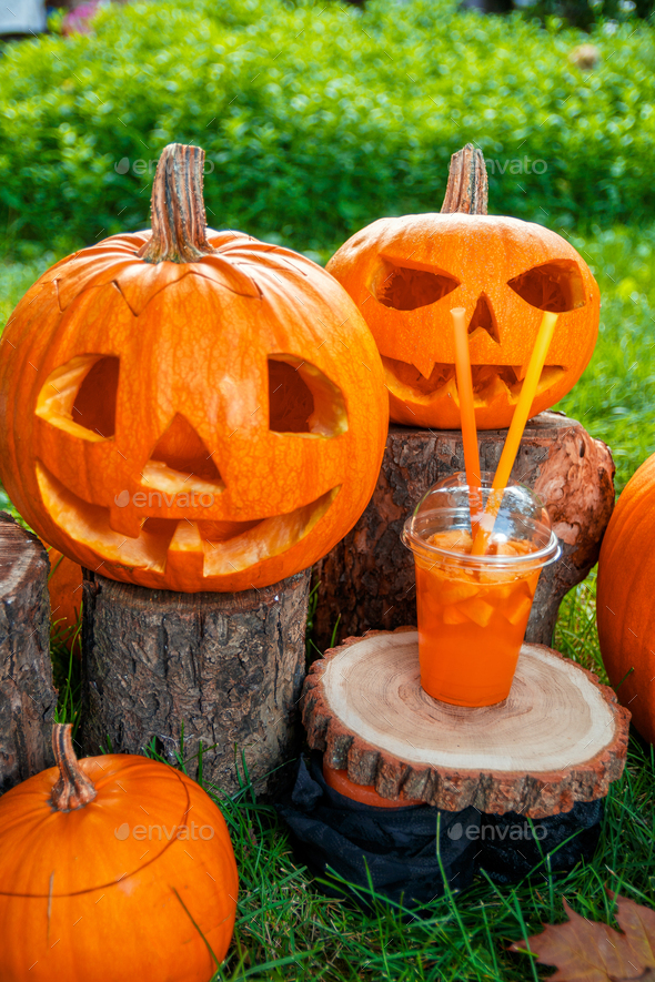 Halloween. Jack-o-Lantern. scary pumpkin - Stock Photo - Images