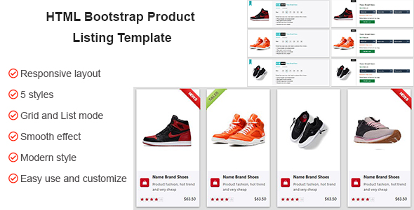 Download HTML CSS Product Listing Template