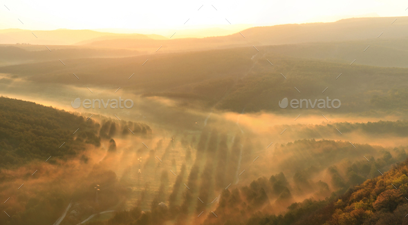 Misty valey at sunset - Stock Photo - Images