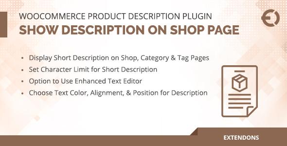 WooCommerce Product Description Plugin - Show on Shop Page
