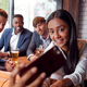 Group Of Business Colleagues Posing For Selfie In Bar After Work - PhotoDune Item for Sale