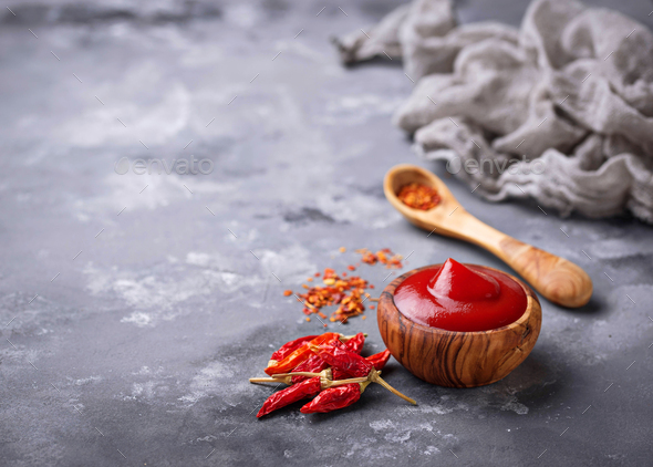 Chili sauce with dried peppers - Stock Photo - Images