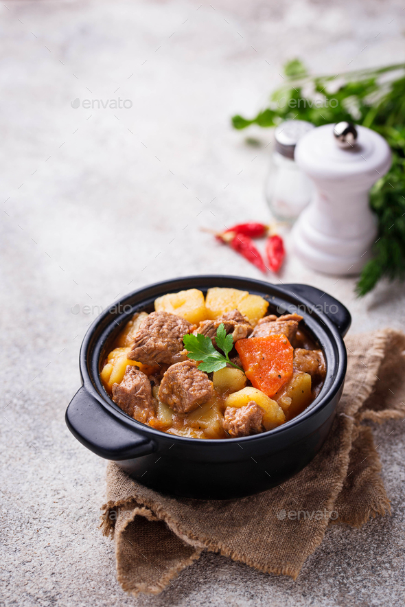 Beef stew with potato and carrot - Stock Photo - Images