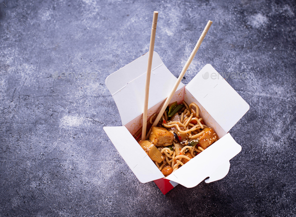 Noodles with chicken, tofu and vegetable - Stock Photo - Images