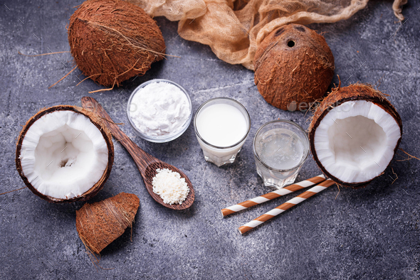 Set of coconut milk, water, oil and shavings. - Stock Photo - Images