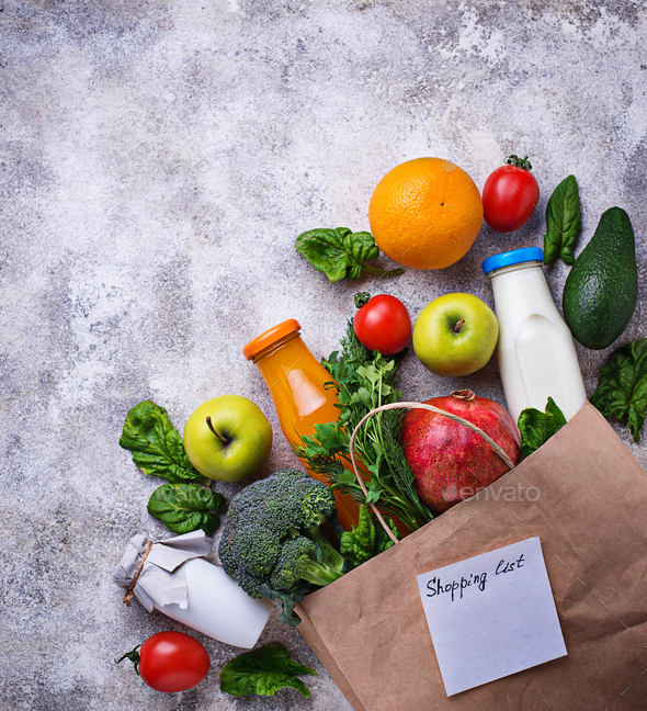 Healthy organic products with paper bag - Stock Photo - Images