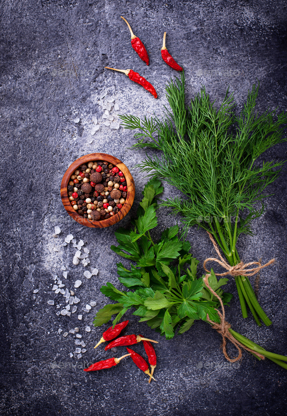 Herbs and spices. Dill, parsley, salt and pepper - Stock Photo - Images