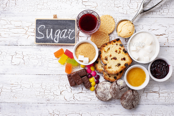 Unhealthy products high in sugar - Stock Photo - Images