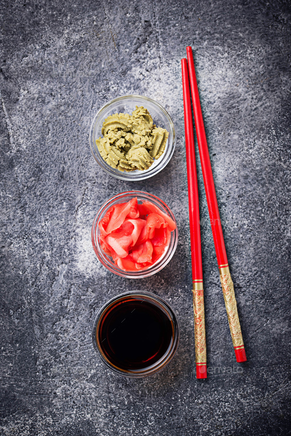 Wasabi, ginger and soy sauce. - Stock Photo - Images