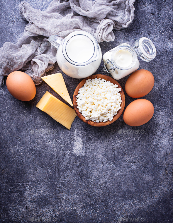 Assortment of various dairy products. - Stock Photo - Images