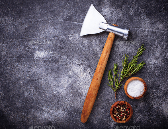 Butchers axe for meat and spices. - Stock Photo - Images