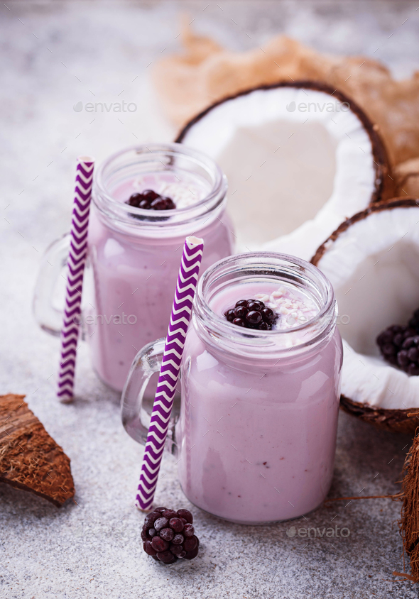 Smoothie with blackberries and coconut milk - Stock Photo - Images