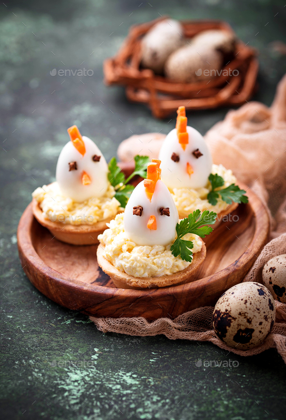 Chickens from eggs.  Easter appetizers for party - Stock Photo - Images