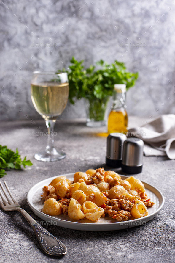 Pasta Bolognese with meat sauce - Stock Photo - Images