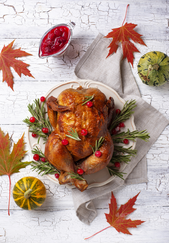 Baked turkey or chicken for holiday - Stock Photo - Images