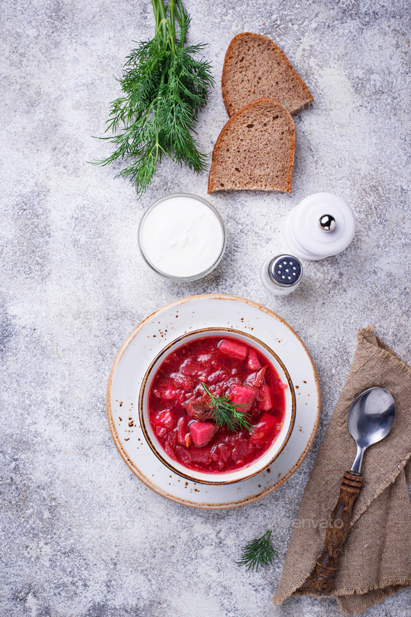 Traditional Ukrainian beetroot soup borsch - Stock Photo - Images