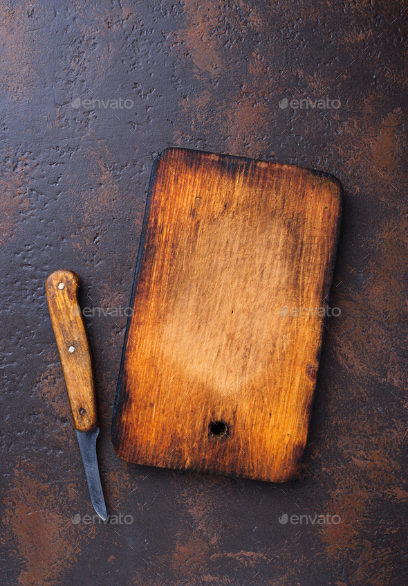 Empty vintage cutting board and knife - Stock Photo - Images